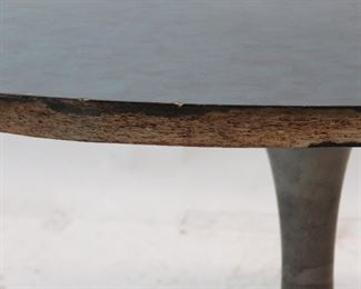 pair of Saarinen style tulip metal base tables with laminate.  tops have chips and edges are worn. PIC 3