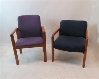 "ITEM 127---2 MCM upholstered teak arm chairs  purple, 23 3/4""w, 24"" deep, 34"" high.  $100.00"