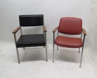 ITEM 128 ---2 MCM chrome wood chairs. $50.00