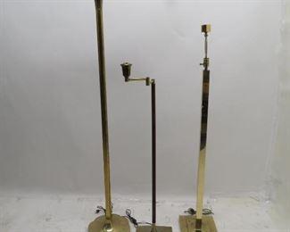 "ITEM 129 ---3 MCM brass floor lamps, tallest 64"" stiffel torchiere. $150.00"