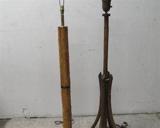"""ITEM 76---2 rattan floor lamps. 56"""" high to finial, 53"""" high. $100.00"""