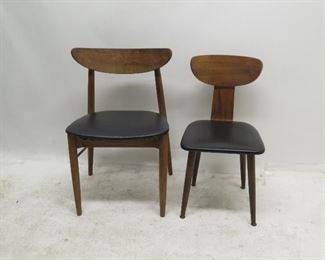 """ITEM 137 ---2 MCM chairs {chips on back]. 21.5 w,18"""" deep,31.75"""" high, 18"""" to seat. smaller 16"""" wide, 17.5"""" deep, 30.5"""" high. 16.5"""" to seat. $75.00"""
