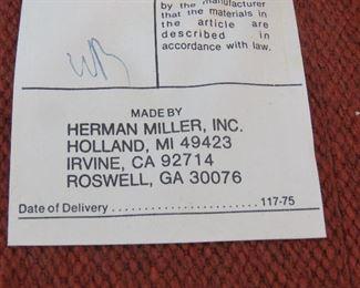 Herman Miller upholstered swivel chair.  PIC 2