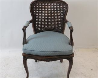 """ITEM 143 ---French walnut armchair with double cane back. 22.5"""" wide, 20"""" deep, 36"""" high, 17"""" to seat. $75.00"""