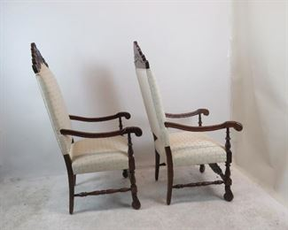 Pair of Jacobean hand carved walnut throne arm chairs.   PIC 2