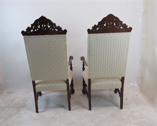 Pair of Jacobean hand carved walnut throne arm chairs.     PIC 5
