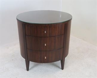 """ITEM 147 ---Ethan Allen 3 drawer oval cabinet with glass top. 26"""" wide, 21"""" deep, 26.25"""" high.  $250.00"""