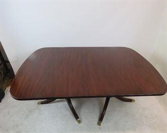 Henkel Harris mahogany double pedestal table w 3 leaves, model 2208.  PIC 3