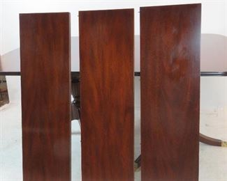 Henkel Harris mahogany double pedestal table w 3 leaves, model 2208. PIC 4