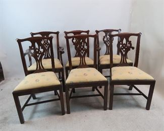ITEM 149 ---Henkel Harris set of 6 chippendale mahogany dining chairs.  $1950.00