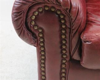 Robinson and Robinson leather arm chair with brass tacking. PIC 3