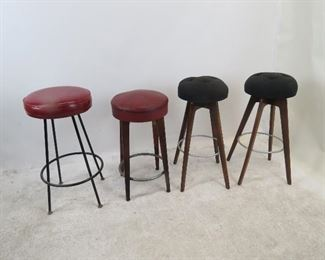 "ITEM 158 ---4 mcm bar stools including a pair.  Pair-14"" diameter seat, 30' high. $100.00"