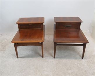 """ITEM 160---2 MCM end tables. woven drawer 22"""" wide,29 3/4"""" deep, 22"""" high,  Banded drawer, 22"""" wide, 32"""" deep, 22"""" high. has surface nicks and scratches. $150.00"""