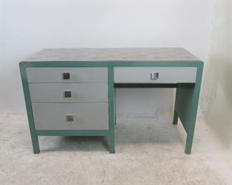 """ITEM 162 ---Norman Bel Geddes for Simmons furniture metal industrial desk, with speckled laminate top.  50.5"""" wide, 21"""" deep, 30.5"""" high. $400.00"""