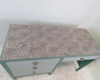 Norman Bel Geddes for Simmons furniture metal industrial desk, with speckled laminate top. PIC 2