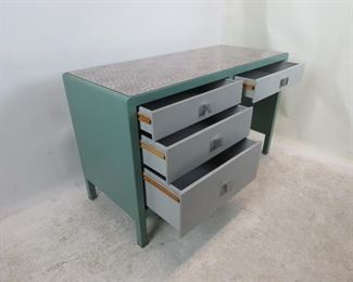 Norman Bel Geddes for Simmons furniture metal industrial desk, with speckled laminate top. PIC 4
