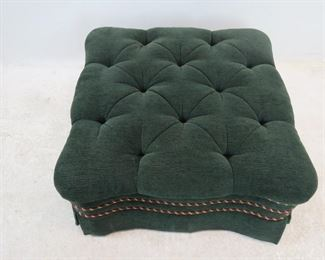 tufted green upholstered ottoman  PIC 2