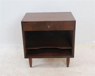 "ITEM 164 ---John Stuart MCM nightstand. [scratched in top]. 22"" wide, 15"" deep, 23 1/4"" high $75.00"