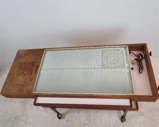 MCM flip top heating tray serving cart. [wood blemishes, could use refinishing]. PIC 2