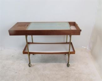 MCM flip top heating tray serving cart. [wood blemishes, could use refinishing]. PIC 3