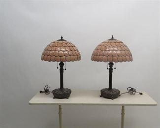 "ITEM 167 ---Pair of Capiz shell table lamps. 24""high, 16"" diameter shades.  $125.00"