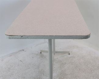 Laminate top metal base adjustable console table. [repainted border] base chipped paint. PIC 3