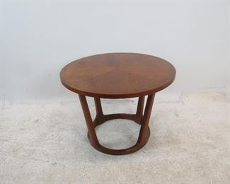 """ITEM 171 ---Lane MCM table 28"""" diameter, 20"""" high. [surface scratches, minor chips]  $125.00"""