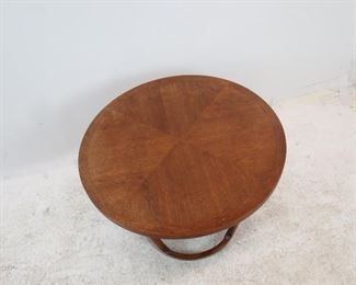 """Lane MCM table 28"""" diameter, 20"""" high. [surface scratches, minor chips]. PIC 3"""