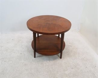 """ITEM 172 ---Lane MCM 2 tier table. scratches, minor chips.   28"""" diameter,  23 1/4"""" high $100.00"""