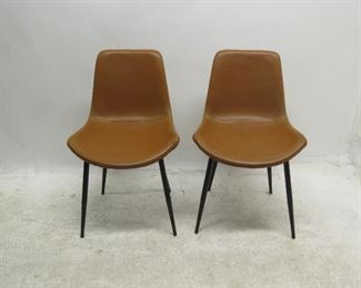 """ITEM 173 ---pair of contemporary leather chairs w/ metal bases.  20"""" wide, 22"""" deep, 32"""" high, 17' to seat.  $75.00"""