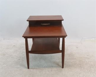 """ITEM 176 ---MCM side table with drawer. 21"""" wide, 29 1/4"""" deep, 22.5"""" high.  $100.00"""