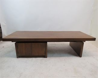 """ITEM 178 ----Lane brutalist style coffee table with cabinet doors. 64' long, 26"""" wide, 15"""" high $175.00"""