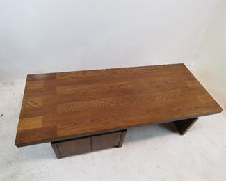 Lane brutalist style coffee table with cabinet doors.  PIC 3