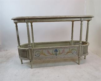 """ITEM 179 ---French style  2 tier console table with double cane corners. distressed and hand painted, artist signed - Steve B 2006.   55"""" long, 18.5"""" wide, 33.5"""" high $250.00"""