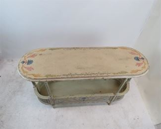 French style  2 tier console table with double cane corners. distressed and hand painted, artist signed - Steve B 2006.   PIC 2