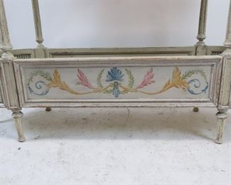 French style  2 tier console table with double cane corners. distressed and hand painted, artist signed - Steve B 2006.   PIC 3