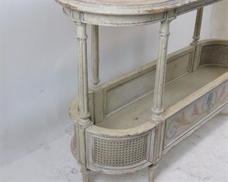 French style  2 tier console table with double cane corners. distressed and hand painted, artist signed - Steve B 2006.  PIC 5