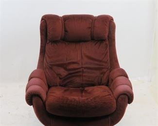 """ITEM 180 ---Overman style upholstered swivel lounge chair.  35"""" wide, 36"""" deep, 37"""" high, 17"""" high to seat.  $250.00"""