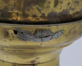 2 part jardiniere w lions handles, has some dents and holes.   PIC 2