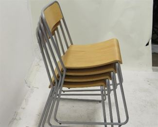 ITEM 189 ---set of 4 Ikea stacking chairs with bentwood seats [1 chair missing bottom screw]  $50.00
