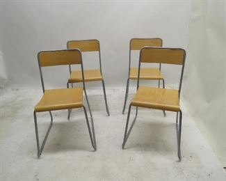 set of 4 Ikea stacking chairs with bentwood seats [1 chair missing bottom screw]  PIC 2
