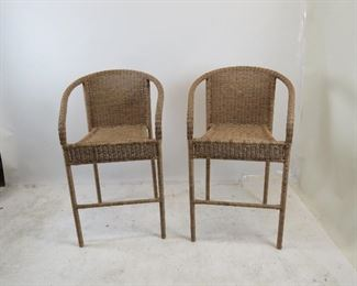 """ITEM 187---pair wicker bar stools. 24.5"""" wide, 24"""" deep, 41.5"""" high, 27.5"""" high to seat. $100.00"""