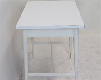 """Paul MCCobb planner group laminate top stand.  dented left corner, paint loss on feet. 22"""" wide, 17"""" deep, 24 1/4"""" high.  PIC 2"""