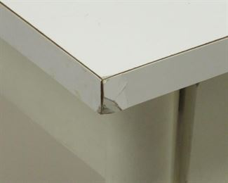 """Paul MCCobb planner group laminate top stand.  dented left corner, paint loss on feet. 22"""" wide, 17"""" deep, 24 1/4"""" high.  PIC 3"""