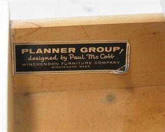 """Paul MCCobb planner group laminate top stand.  dented left corner, paint loss on feet. 22"""" wide, 17"""" deep, 24 1/4"""" high.  PIC 5"""