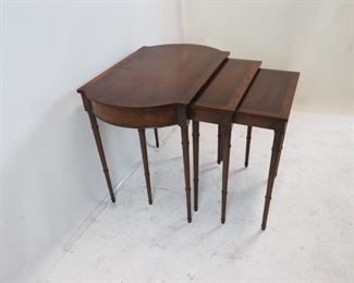 mahogany faux bamboo nest of tables. scratches, chips on molding.  PIC 2