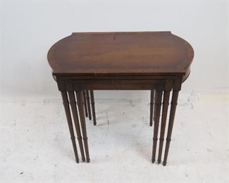 mahogany faux bamboo nest of tables. scratches, chips on molding.  PIC 4