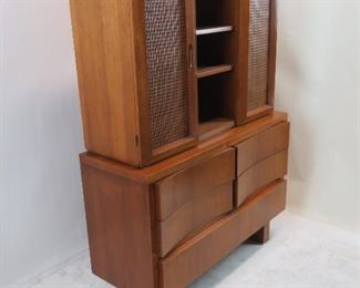 American of Martinsville MCM caned door cabinet. [loose drawer guides]  PIC 4