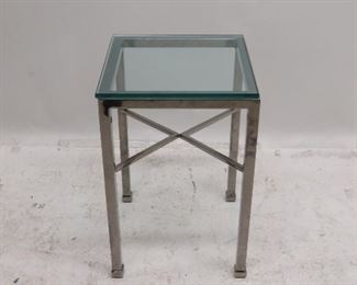"""ITEM 186 ---MCM chrome and glass stand. 14"""" wide, 14"""" deep, 22"""" high.  $125.00"""