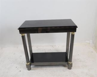 """ITEM 188 ---DIA steel brass, black beveled glass console table. 29.5"""" wide, 14"""" deep, 29"""" high. $225.00"""